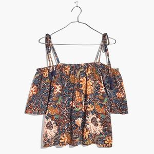 Madewell Silk Cold Shoulder Top in Sea Floral